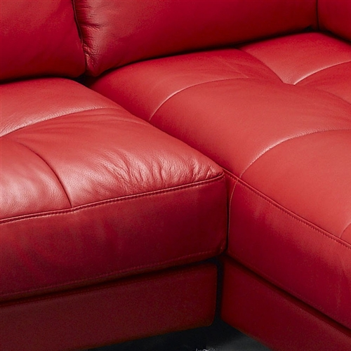 Modern Red Leather Sectional Sofa