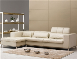 Beige Leather Sectional Sofa TOS-FY635