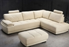 Beige Leather Sectional Sofa and Ottoman Set TOS-FY679-2