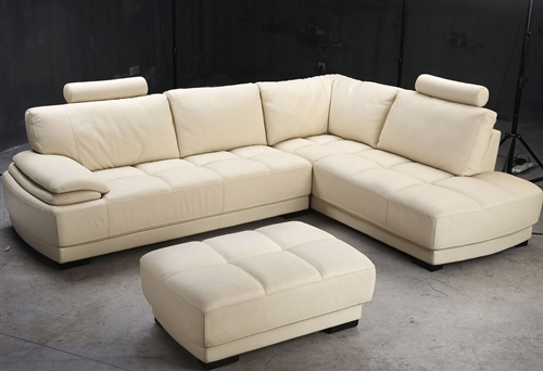 Beige Leather Sectional Sofa And Ottoman Set Tos Fy679 2