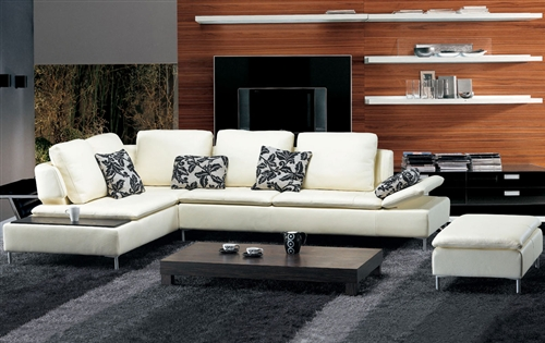 Beige Leather Sectional Sofa And Ottoman Set Tos Fy682 2