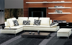 Beige Leather Sectional Sofa and Ottoman Set TOS-FY682-2