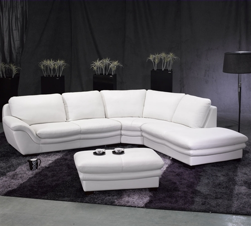 White Leather Sectional Sofa and Ottoman TOS-FY701