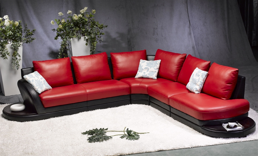 Modern Red/Black Leather Sectional Sofa