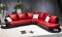 Modern Red/Black Leather Sectional Sofa TOS-FY709