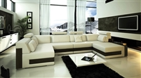 Modern Ivory Leather Sectional Sofa TOS-FY796