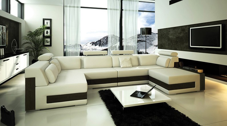modern ivory leather sectional sofa