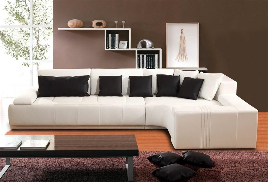 Contemporary Modern Off White Sectional Sofa with Left Facing Chaise