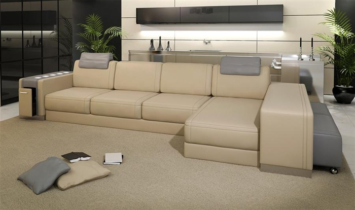 Ashley Modern Leather Sectional Sofa