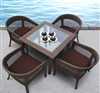 Modern 5 Piece Brown Wicker Dining Set TOS-GW3079SET