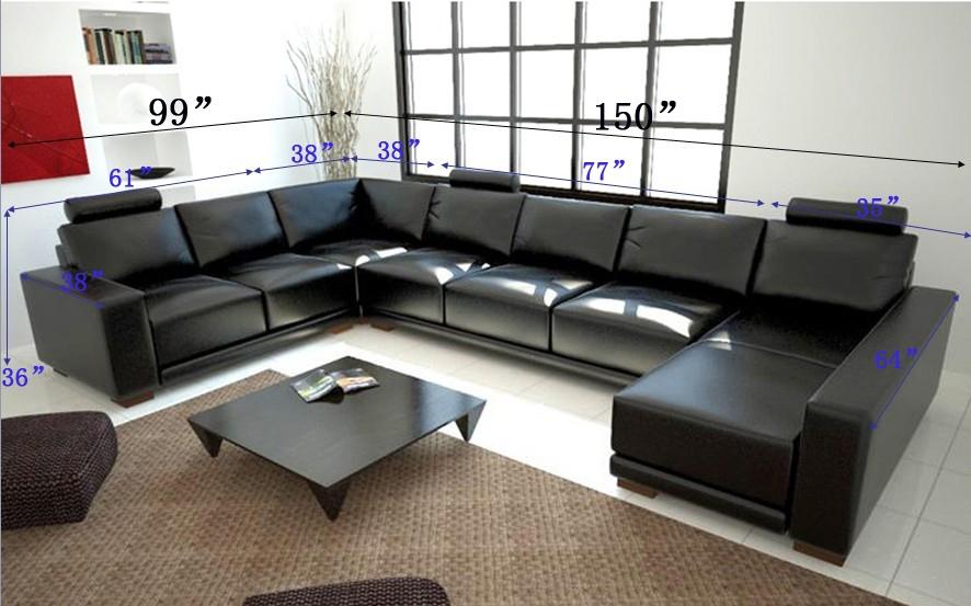 Modern Black Sectional Sofa TOSLF1001