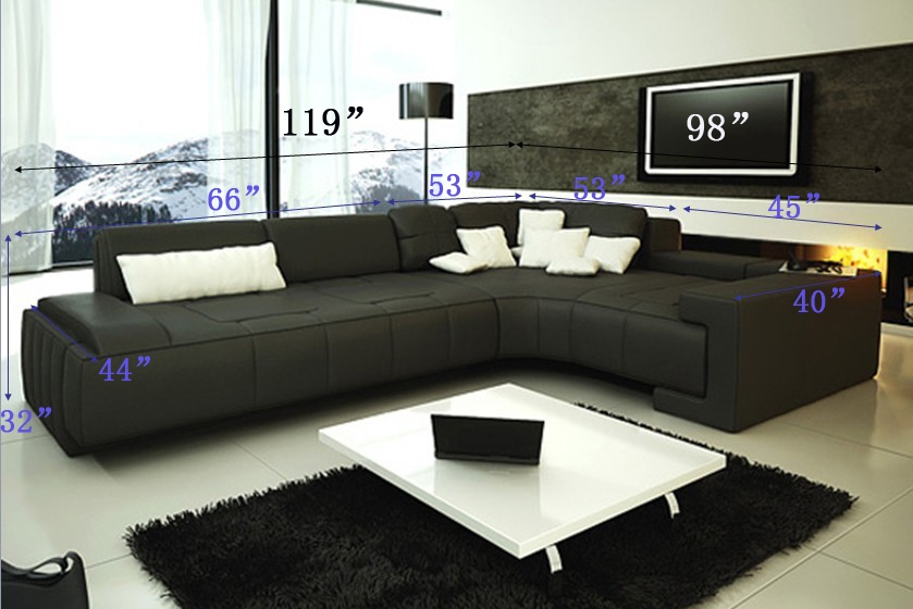 Franco Collection Modern Sectional Sofa - Black