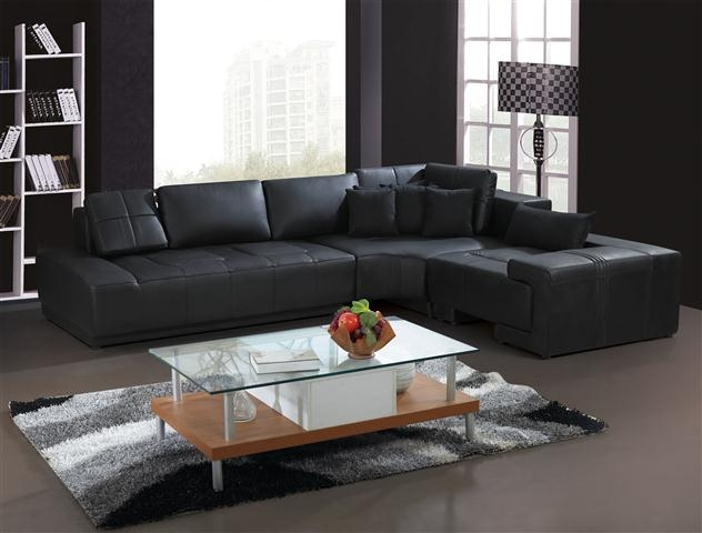 Franco Collection Modern Black Sectional Sofa