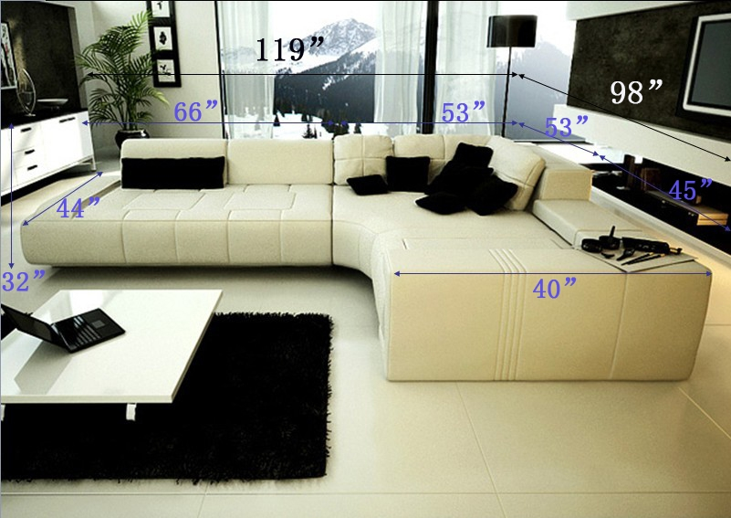 Franco Collection Modern Sectional Sofa - White