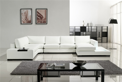 Modern white bonded leather sectional sofa tos lf 2029 bn for V shaped living room