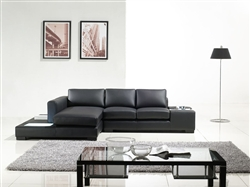 Modern Black Compact Leather Sectional Sofa TOS-LF-2029-Comp-BL