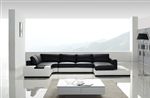 Modern White and Black Leather Sectional Sofa TOS-LF-2029-WHB