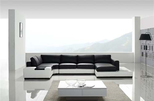White And Black Leather Sectional Sofa