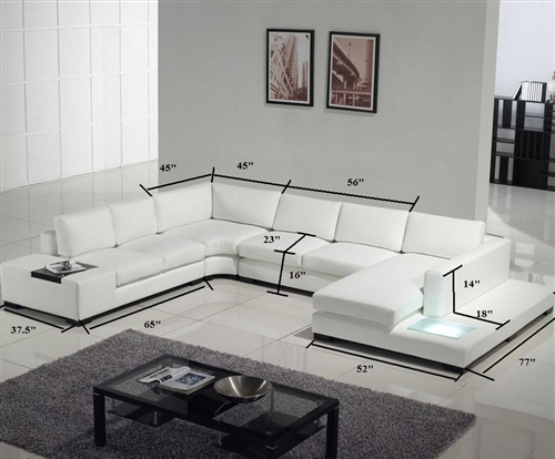 Modern White and Black Leather Sectional Sofa