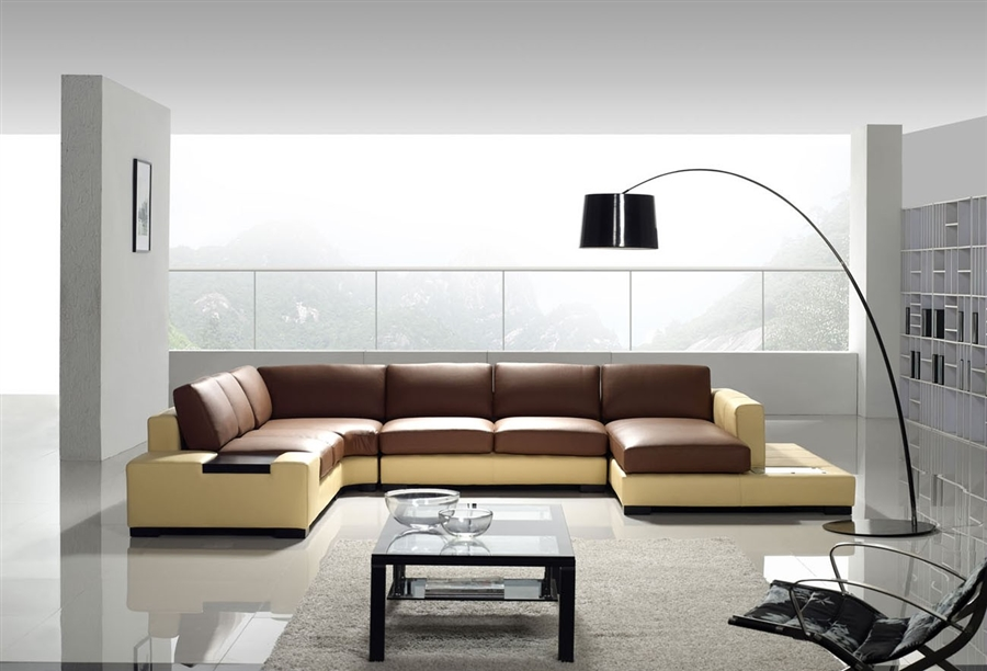 Modern Yellow and Brown Leather Sectional Sofa TOS-LF-2029-YRED : yellow leather sectional - Sectionals, Sofas & Couches