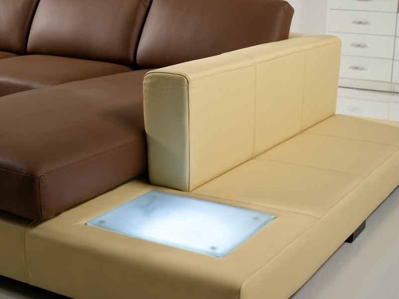 Modern Yellow and Brown Leather Sectional Sofa