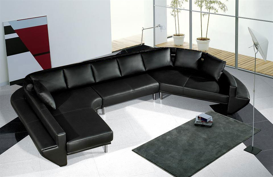 Ultra Modern Black Leather Sectional Sofa Set