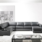 Modern Black Bonded Leather Sectional Sofa TOS-LF-2066-BN