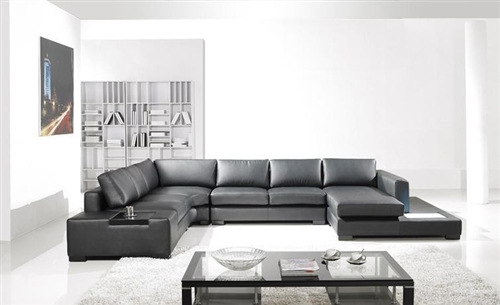 Modern Black Bonded Leather Sectional Sofa