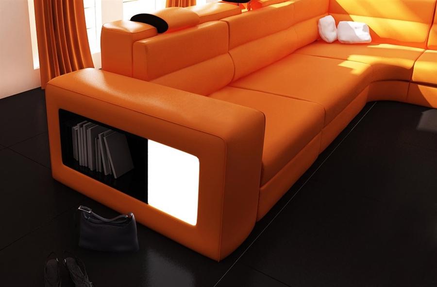 Modern Italian Design Polaris Sectional Sofa in Orange
