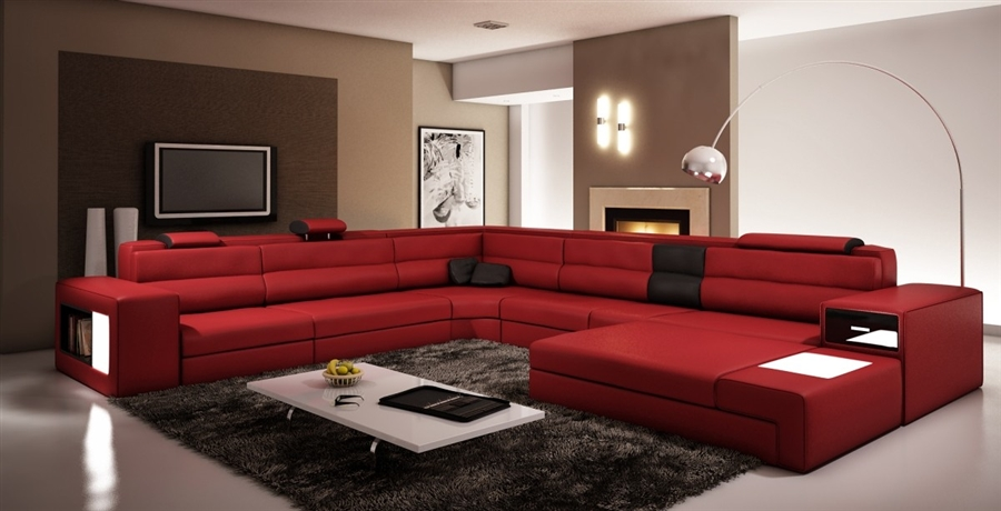Modern Italian Design Sectional Sofa Dark Red with Black Accent