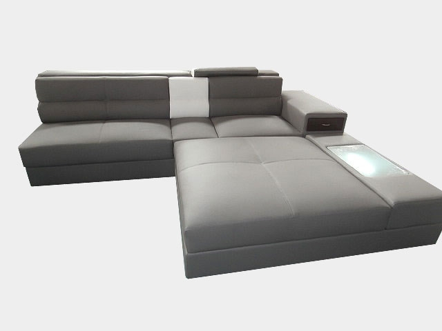 Modern Italian Design Grey Sectional Sofa Large 3 Seater with Oversized  Chaise
