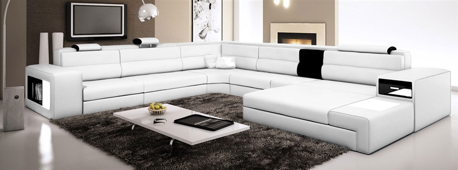 sectional italian sofa in versace ivory leather classic