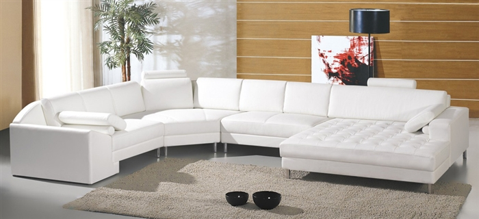 Modern White Sectional Sofa with Oversized Chaise