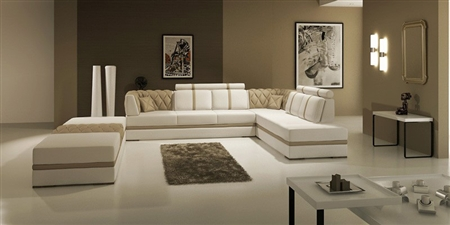 Manhattan Leather Sectional Sofa TOS-LF-3105-TAUPE