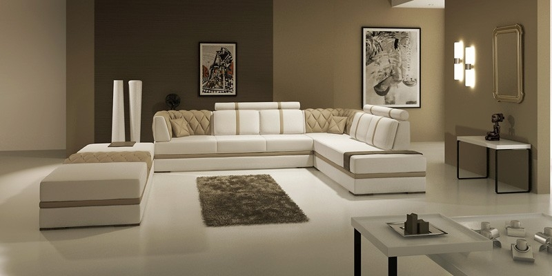 Manhattan leather sectional sofa tos lf 3105 taupe lhr for Sofa contemporain design