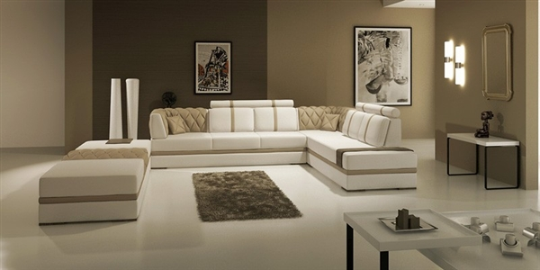 Manhattan Leather Sectional Sofa TOS-LF-3105-TAUPE-LHR