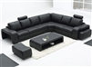 Modern Leather Sectional Sofa Set + Table TOS-LF-3330-BLACK