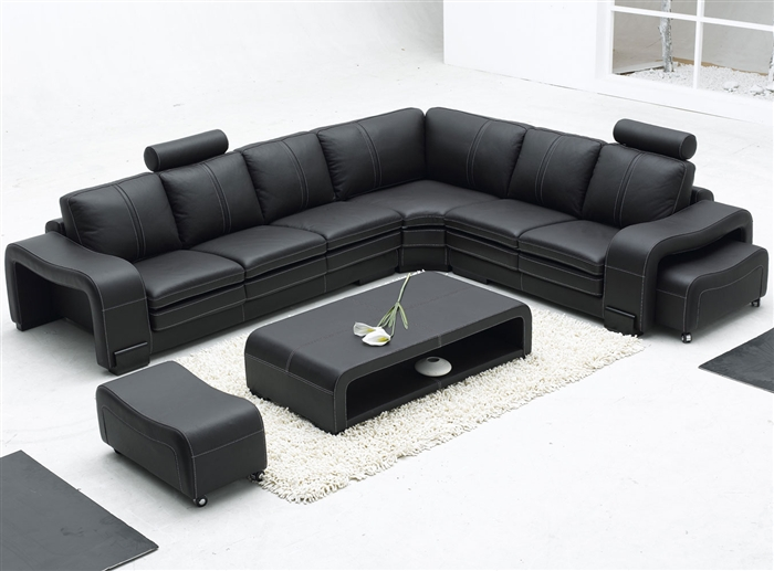 Modern Leather Sectional Sofa Set + Table - Black