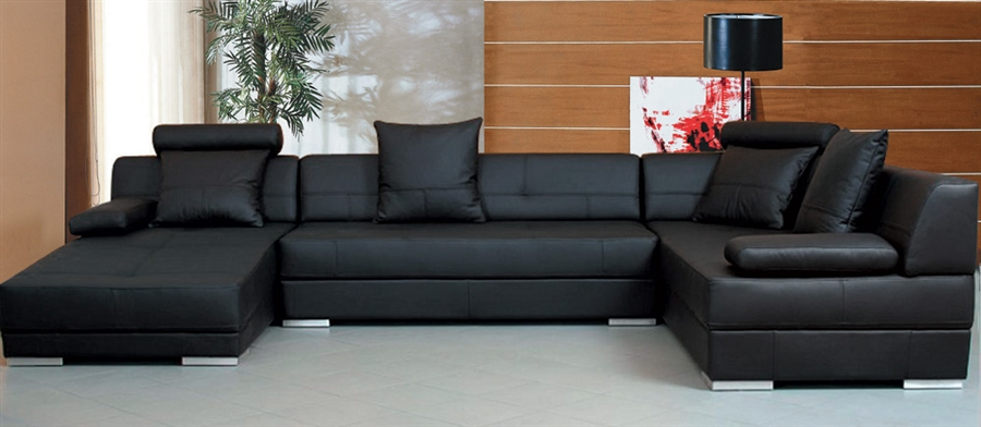 Modern Black Leather Sectional Sofa Set