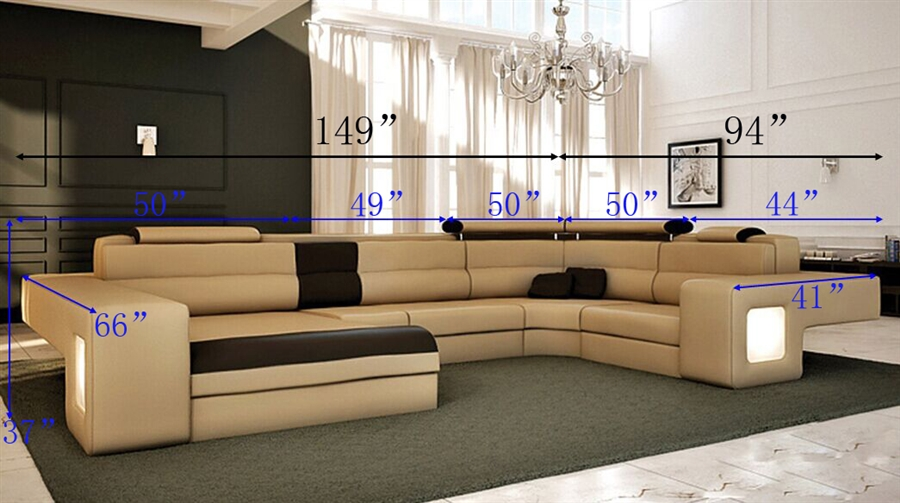Italian Design Modern Sectional Sofa - Honey TOS-LF-4001-HONEY