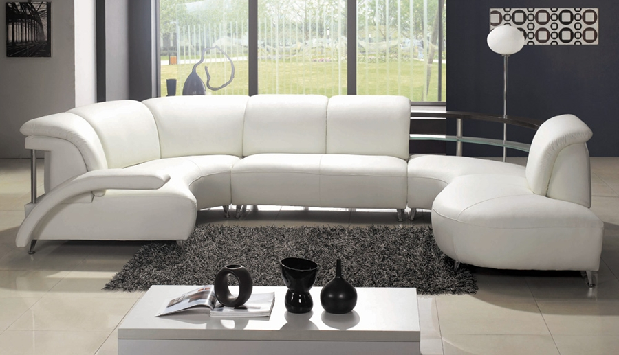 Modern White Wrap-Around Design Leather Sectional Sofa