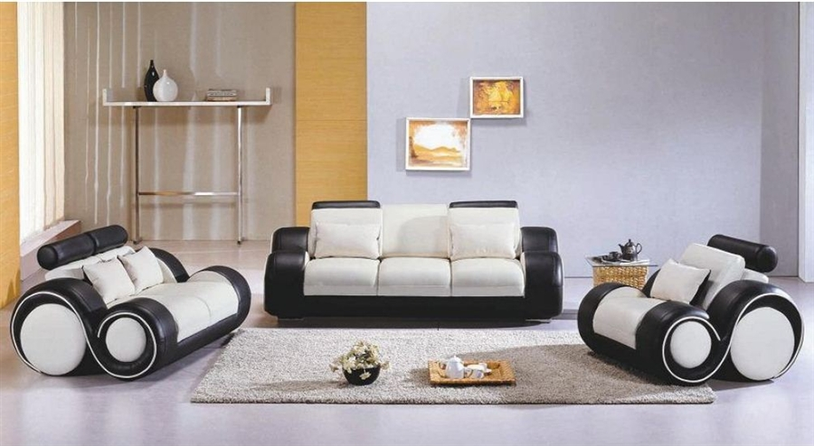 White Sofa Set Tos Lf 4088 Whiteblack Lher
