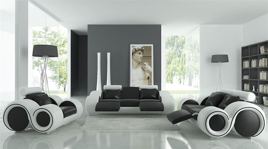 White Sofa Set Tos Lf 4088 Whiteblack Lher