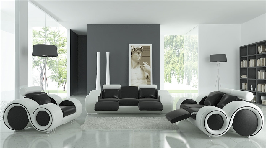 Modern Round Design Black and White Sofa Set with Adjustable Headrest