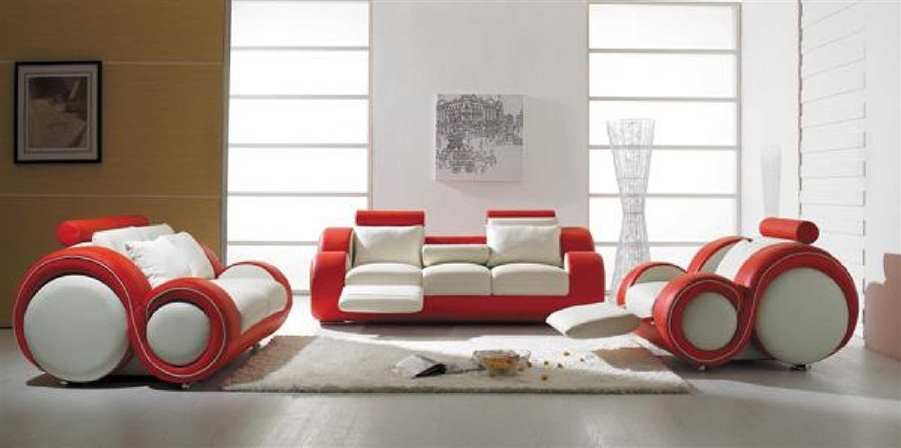 Modern Round Design White and Red Sofa Set with Adjustable Headrest