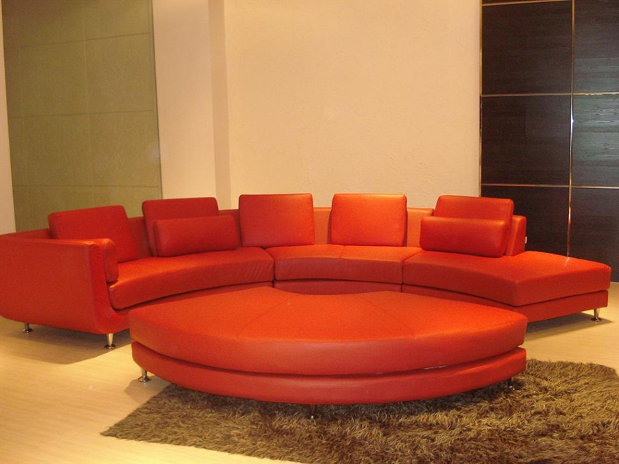 Contemporary S Shaped Curved Red Leather Sectional Sofa