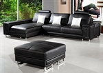 Modern Compact Black Sectional Sofa + Ottoman TOS-LF-5622-LHER