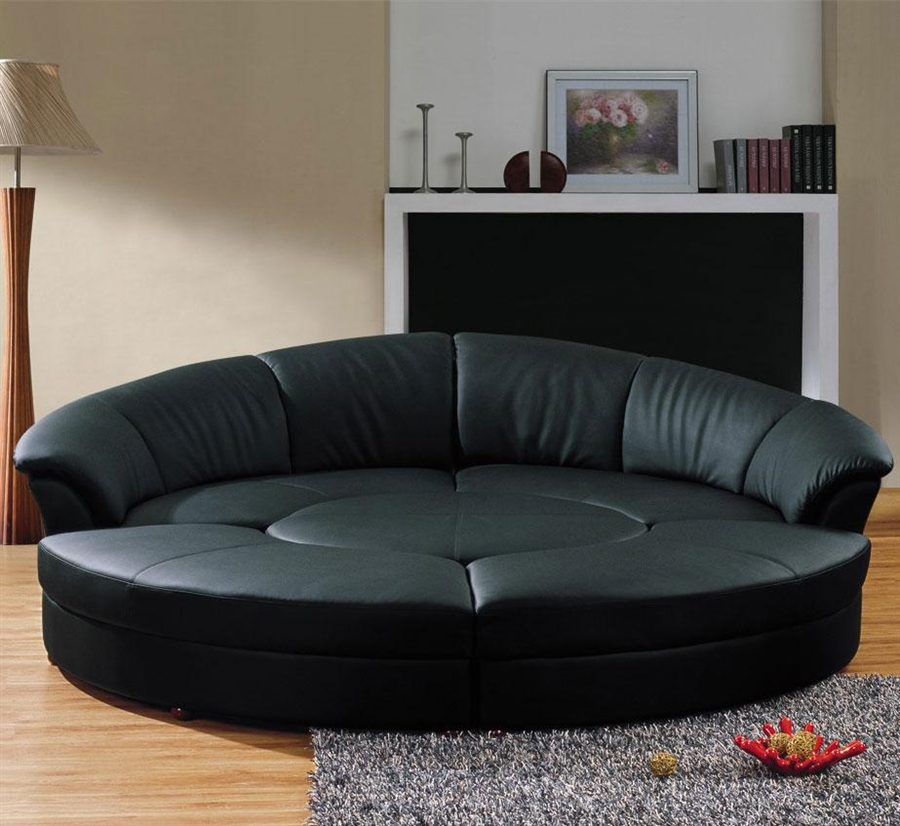 Modern Circle Sectional Sofa Set with Table - Black Top Grain Leather