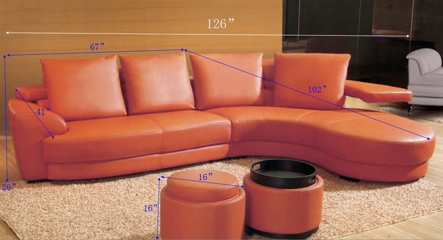 Contemporary Orange Leather Sectional Sofa Set with Ottoman
