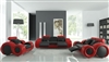 Modern Black and Red Leather Sofa Set TOS-LF-8804-BLACKRED-LTHER